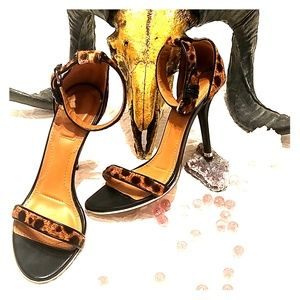 Givenchy Paris Calf Hair Leopard Strap Heels